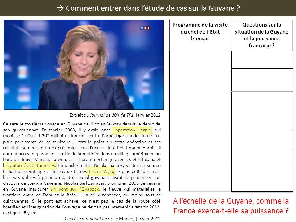 Comment entrer dans létude de cas sur la Guyane ? Ce sera le troisième voyage en Guyane de Nicolas Sarkozy depuis le début de son quinquennat. En févr
