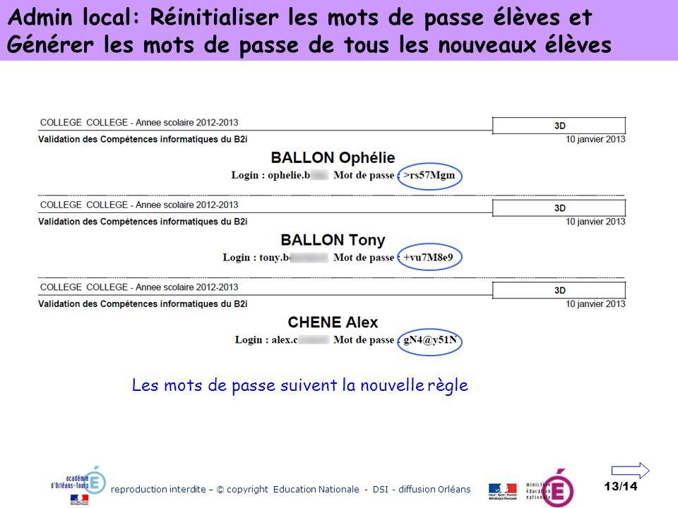 reproduction interdite – © copyright Education Nationale - DSI - diffusion Orléans 13/14 Admin local: Réinitialiser les mots de passe élèves et Génére