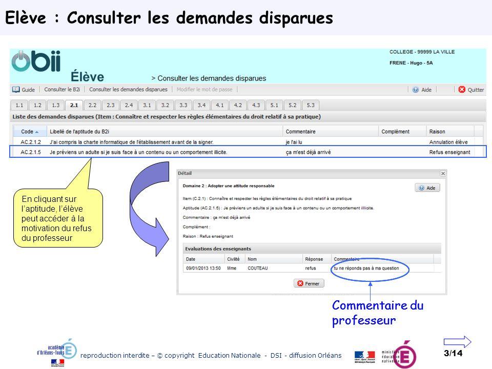 reproduction interdite – © copyright Education Nationale - DSI - diffusion Orléans 3/14 Elève : Consulter les demandes disparues En cliquant sur lapti