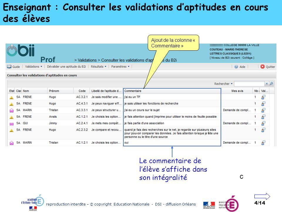 reproduction interdite – © copyright Education Nationale - DSI - diffusion Orléans 4/14 Enseignant : Consulter les validations daptitudes en cours des