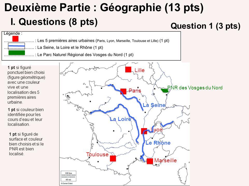 Deuxième Partie : Géographie (13 pts) I. Questions (8 pts) Paris Lille Lyon Marseille Toulouse La Seine Le Rhône La Loire PNR des Vosges du Nord 1 pt