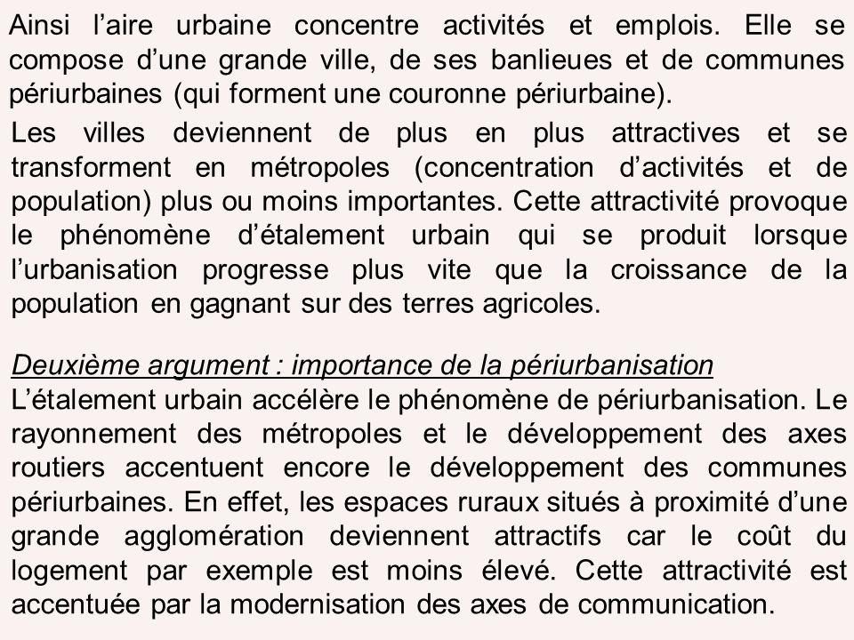 Ainsi laire urbaine concentre activités et emplois. Elle se compose dune grande ville, de ses banlieues et de communes périurbaines (qui forment une c