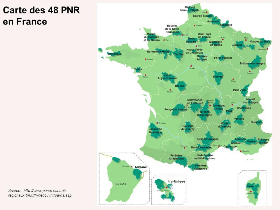 Carte des 48 PNR en France Source : http://www.parcs-naturels- regionaux.tm.fr/fr/decouvrir/parcs.asp