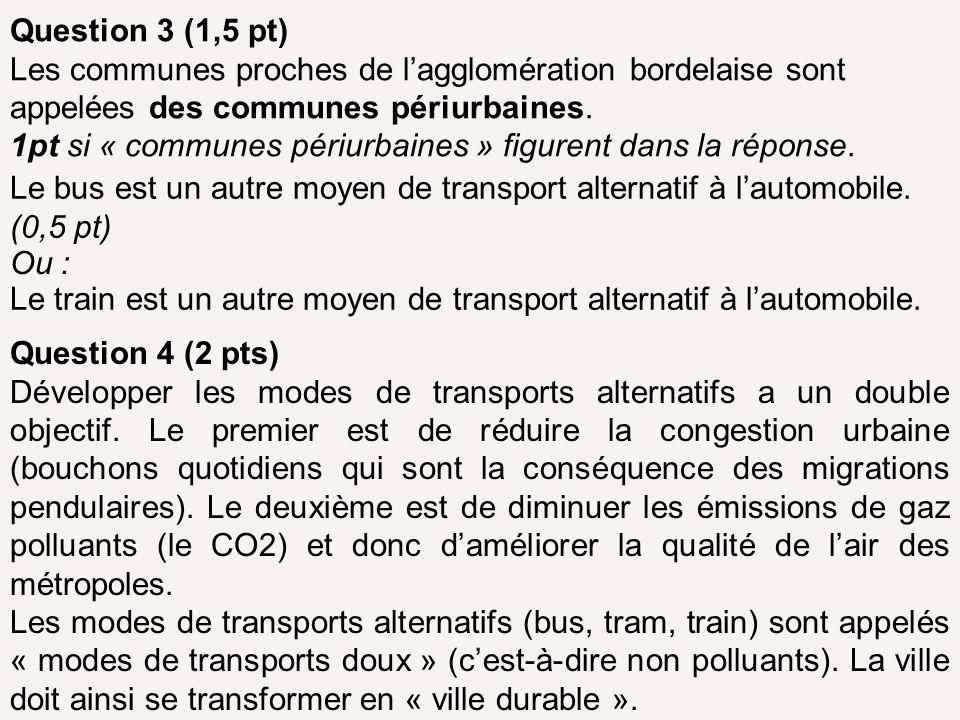 Question 3 (1,5 pt) Les communes proches de lagglomération bordelaise sont appelées des communes périurbaines. 1pt si « communes périurbaines » figure