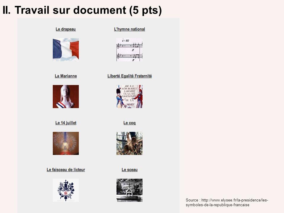 II. Travail sur document (5 pts) Source : http://www.elysee.fr/la-presidence/les- symboles-de-la-republique-francaise