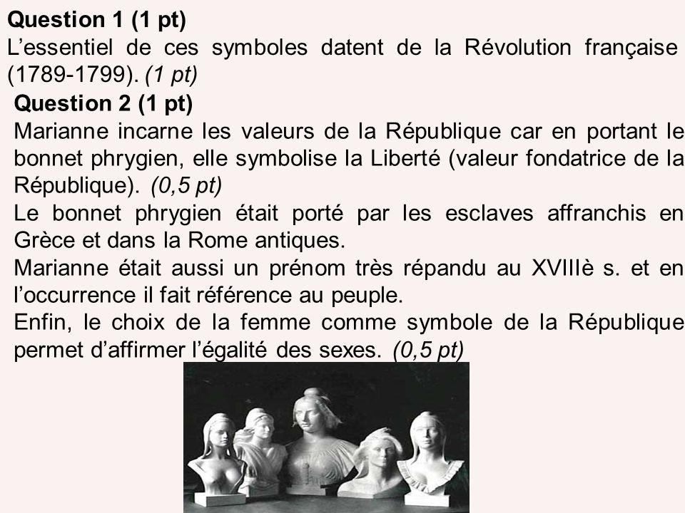 Question 1 (1 pt) Lessentiel de ces symboles datent de la Révolution française (1789-1799). (1 pt) Question 2 (1 pt) Marianne incarne les valeurs de l