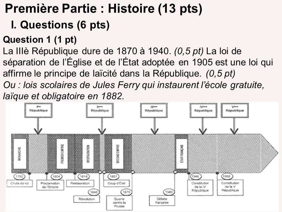 Première Partie : Histoire (13 pts) I. Questions (6 pts) Question 1 (1 pt) La IIIè République dure de 1870 à 1940. (0,5 pt) La loi de séparation de lÉ