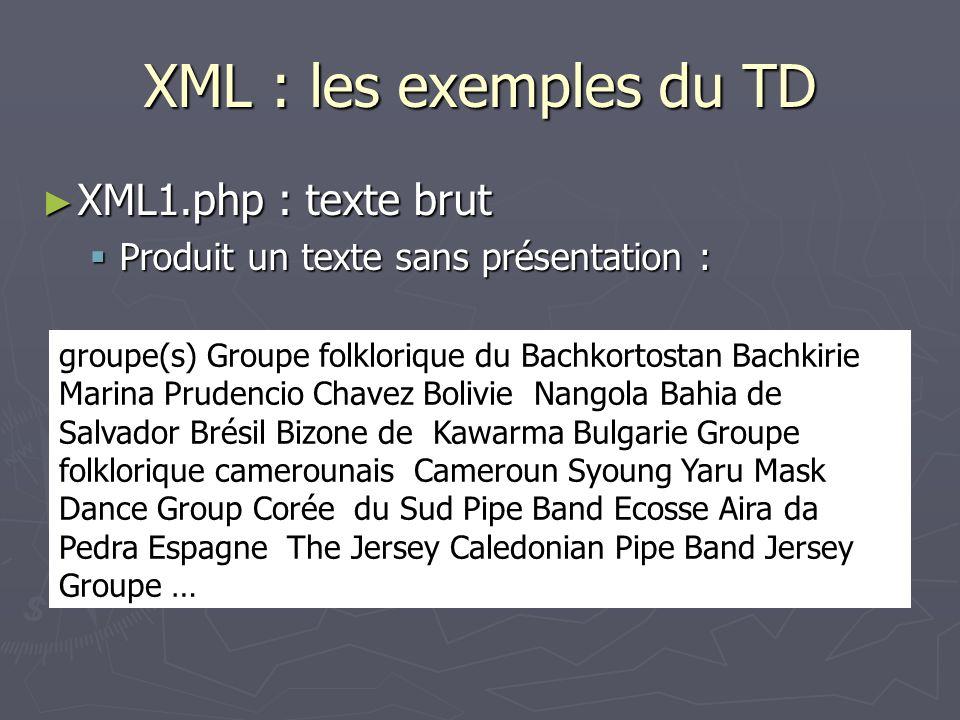 XML : les exemples du TD XML1.php : texte brut XML1.php : texte brut Produit un texte sans présentation : Produit un texte sans présentation : groupe(