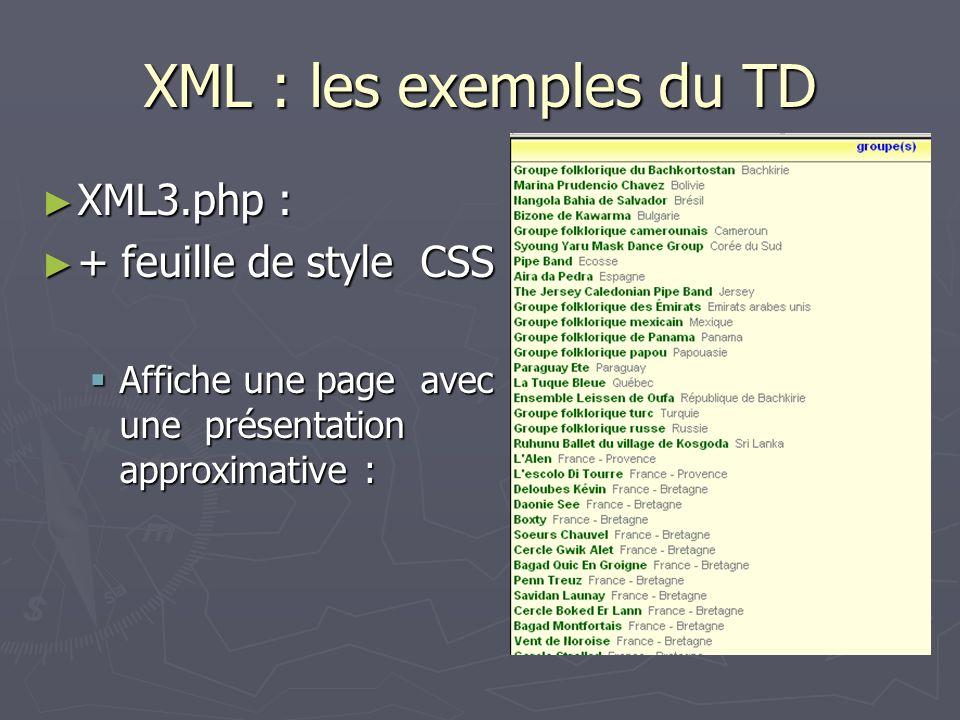 XML : les exemples du TD XML3.php : XML3.php : + feuille de style CSS + feuille de style CSS Affiche une page avec une présentation approximative : Af