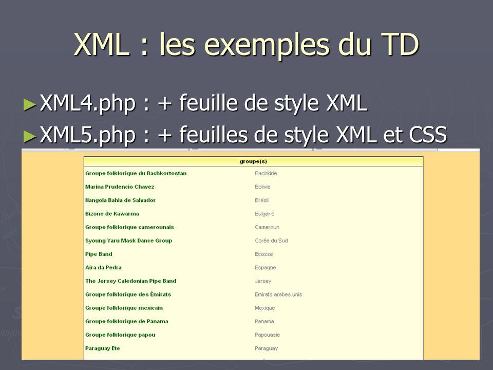 XML : les exemples du TD XML4.php : + feuille de style XML XML4.php : + feuille de style XML XML5.php : + feuilles de style XML et CSS XML5.php : + fe