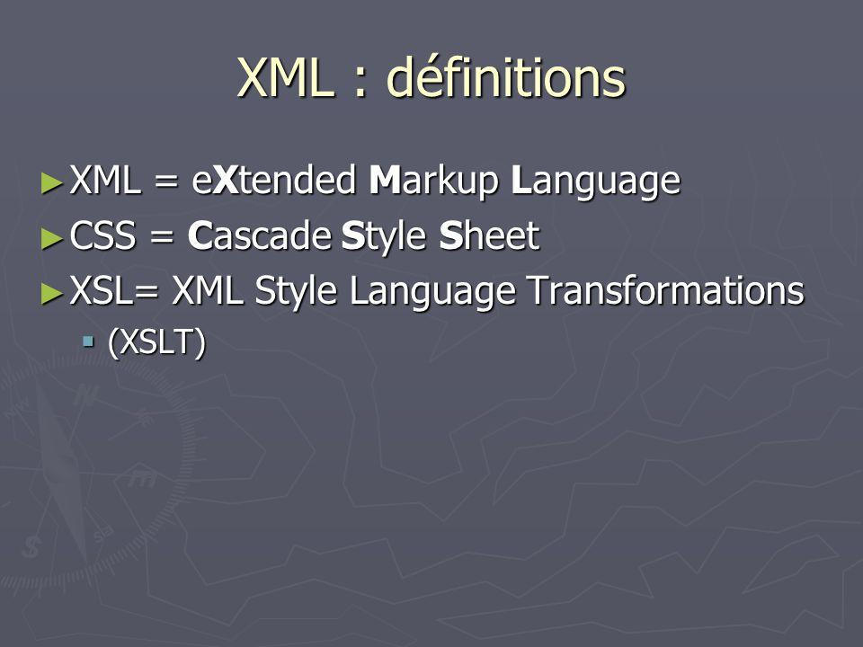 XML : définitions XML = eXtended Markup Language XML = eXtended Markup Language CSS = Cascade Style Sheet CSS = Cascade Style Sheet XSL= XML Style Lan
