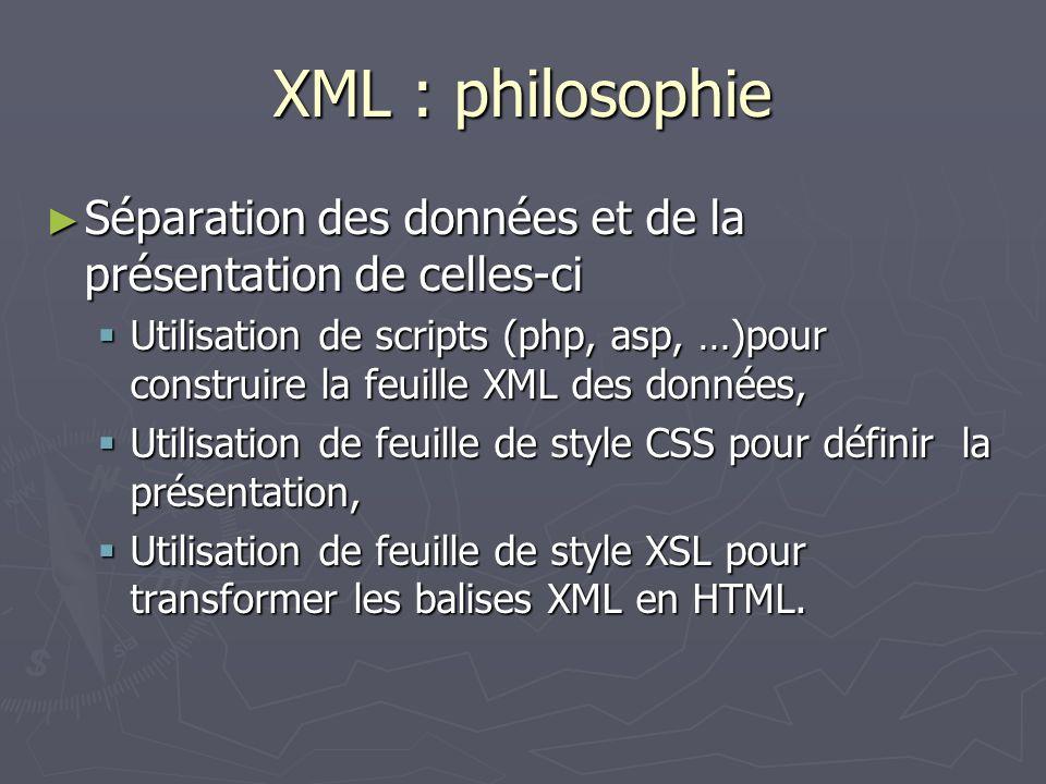 XML : philosophie Séparation des données et de la présentation de celles-ci Séparation des données et de la présentation de celles-ci Utilisation de s