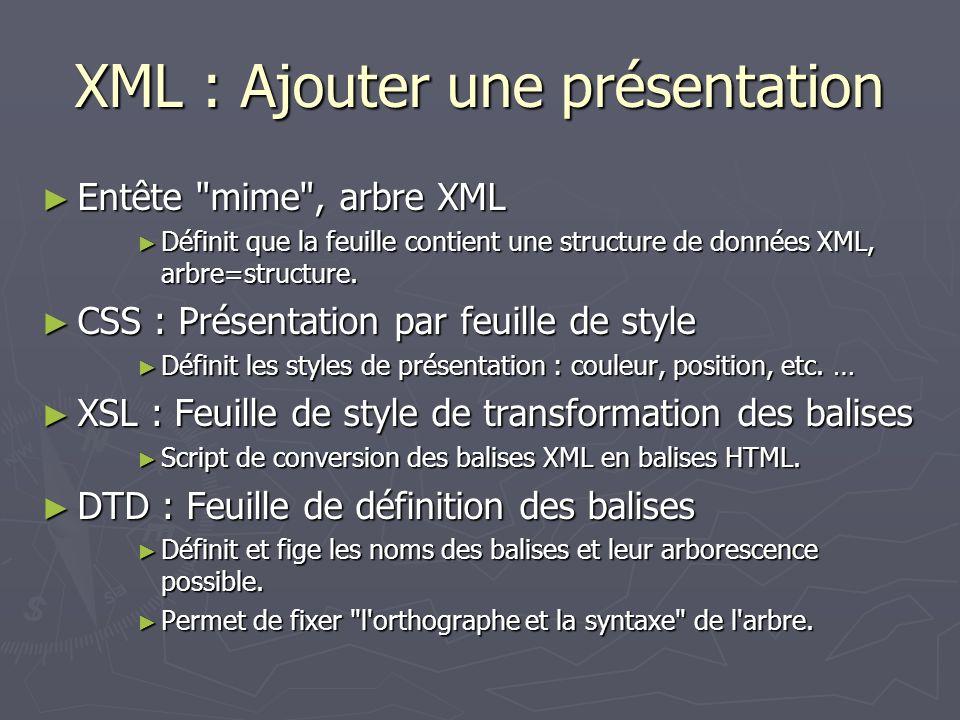 XML : Ajouter une présentation Entête