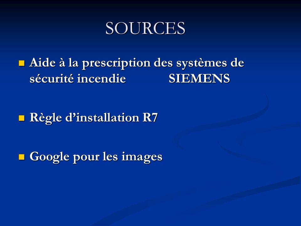 SOURCES Aide à la prescription des systèmes de sécurité incendie SIEMENS Aide à la prescription des systèmes de sécurité incendie SIEMENS Règle dinstallation R7 Règle dinstallation R7 Google pour les images Google pour les images