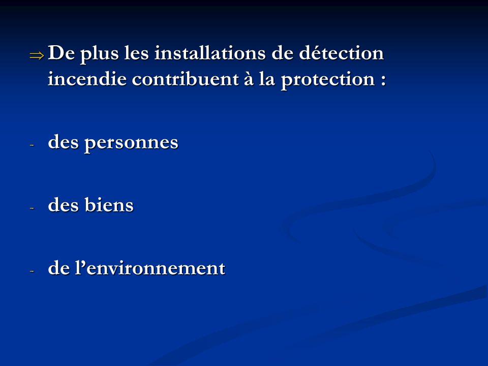 De plus les installations de détection incendie contribuent à la protection : De plus les installations de détection incendie contribuent à la protection : - des personnes - des biens - de lenvironnement