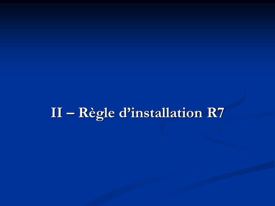 II – Règle dinstallation R7
