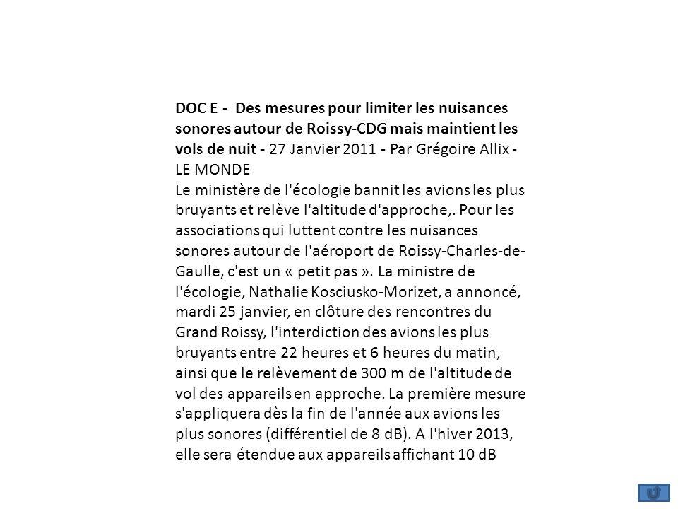 DOC E - Des mesures pour limiter les nuisances sonores autour de Roissy-CDG mais maintient les vols de nuit - 27 Janvier 2011 - Par Grégoire Allix - L