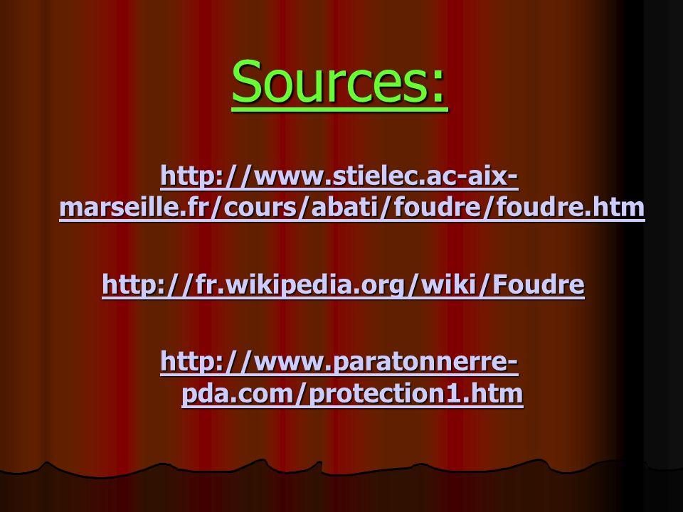Sources: http://www.stielec.ac-aix- marseille.fr/cours/abati/foudre/foudre.htm http://www.stielec.ac-aix- marseille.fr/cours/abati/foudre/foudre.htm h