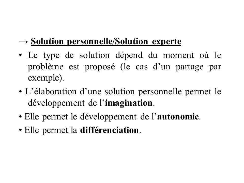 Solution personnelle/Solution experte Le type de solution dépend du moment où le problème est proposé (le cas dun partage par exemple). Lélaboration d