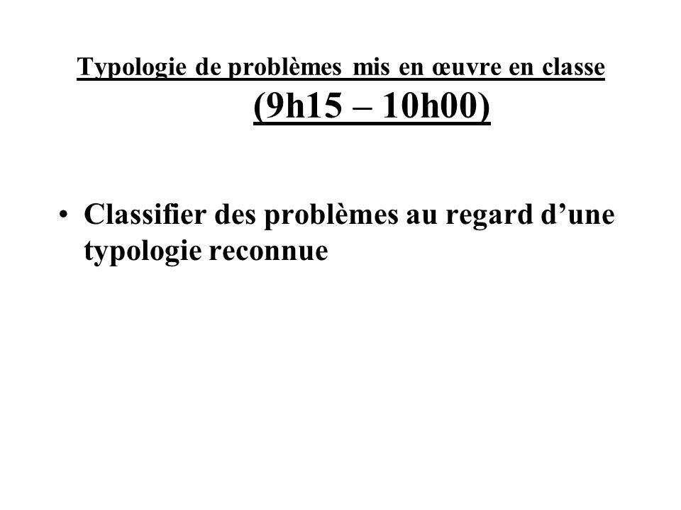 Typologie de problèmes mis en œuvre en classe (9h15 – 10h00) Classifier des problèmes au regard dune typologie reconnue