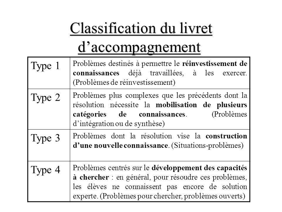 Classification du livret daccompagnement Classification du livret daccompagnement Type 1 Problèmes destinés à permettre le réinvestissement de connaissances déjà travaillées, à les exercer.