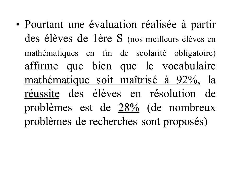 réussite 28%Pourtant une évaluation réalisée à partir des élèves de 1ère S (nos meilleurs élèves en mathématiques en fin de scolarité obligatoire) affirme que bien que le vocabulaire mathématique soit maîtrisé à 92%, la réussite des élèves en résolution de problèmes est de 28% (de nombreux problèmes de recherches sont proposés)