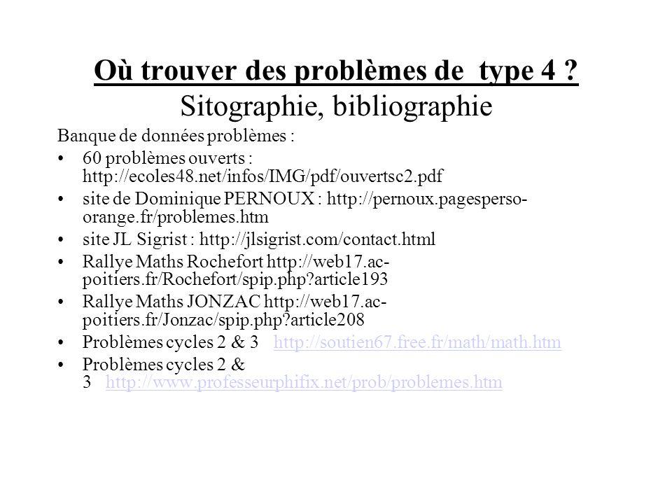 Où trouver des problèmes de type 4 ? Sitographie, bibliographie Banque de données problèmes : 60 problèmes ouverts : http://ecoles48.net/infos/IMG/pdf