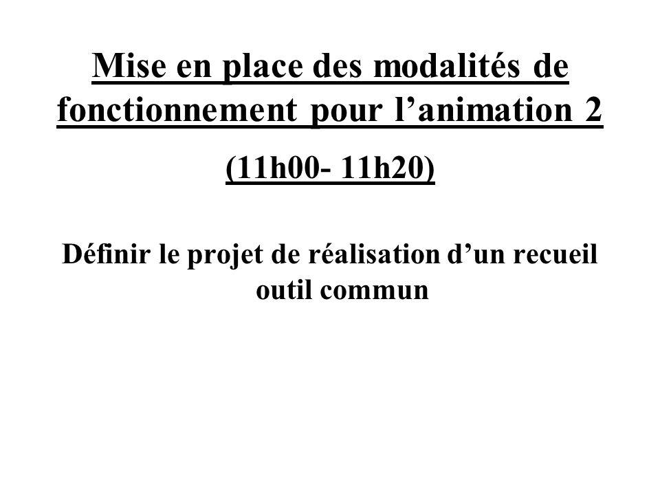 Mise en place des modalités de fonctionnement pour lanimation 2 (11h00- 11h20) Définir le projet de réalisation dun recueil outil commun