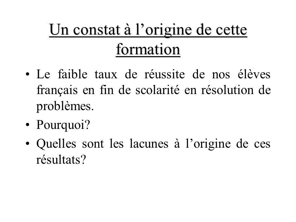 Un constat à lorigine de cette formation Le faible taux de réussite de nos élèves français en fin de scolarité en résolution de problèmes. Pourquoi? Q