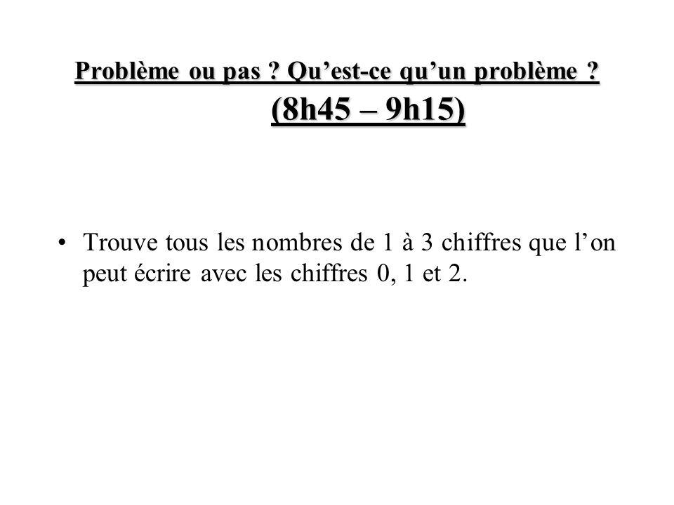 Problème ou pas ? Quest-ce quun problème ? (8h45 – 9h15) Trouve tous les nombres de 1 à 3 chiffres que lon peut écrire avec les chiffres 0, 1 et 2.