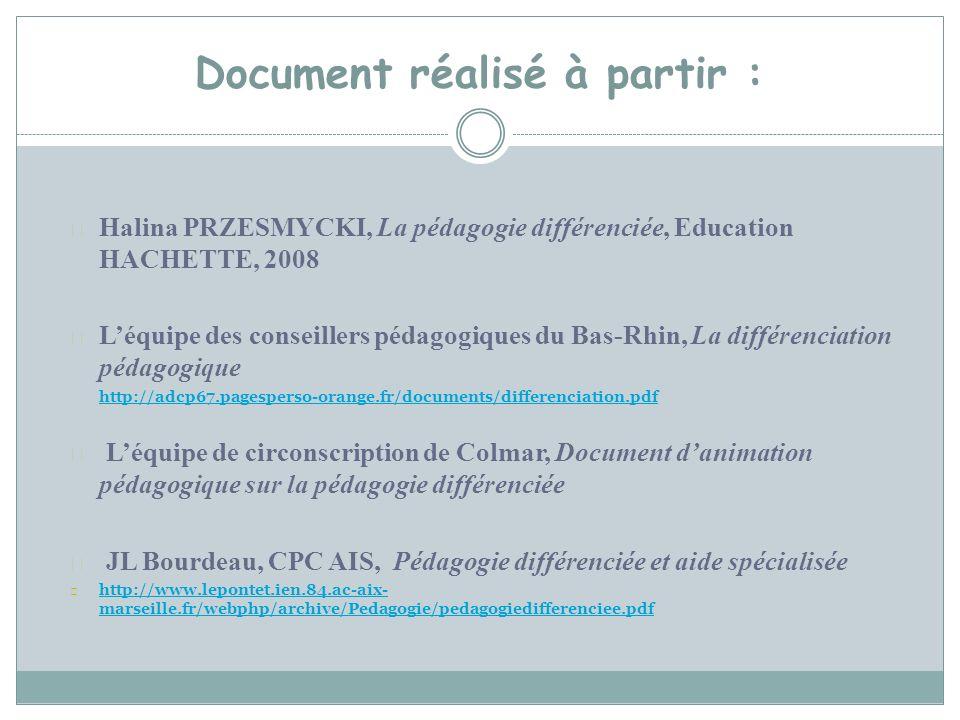 Document réalisé à partir : Halina PRZESMYCKI, La pédagogie différenciée, Education HACHETTE, 2008 Léquipe des conseillers pédagogiques du Bas-Rhin, L