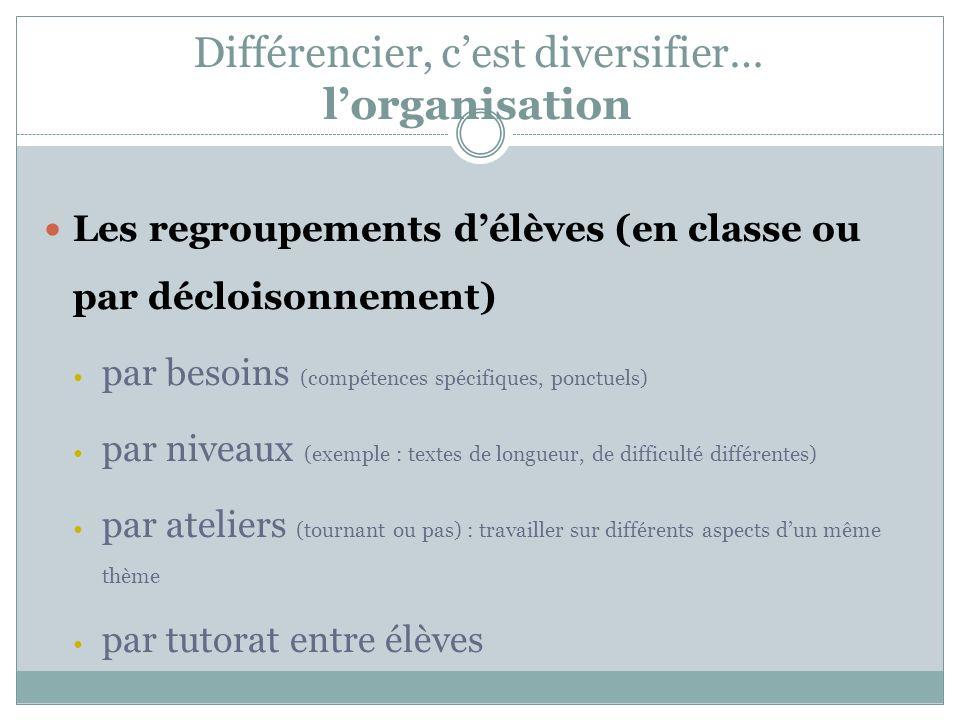 Différencier, cest diversifier… lorganisation Les regroupements délèves (en classe ou par décloisonnement) par besoins (compétences spécifiques, ponct