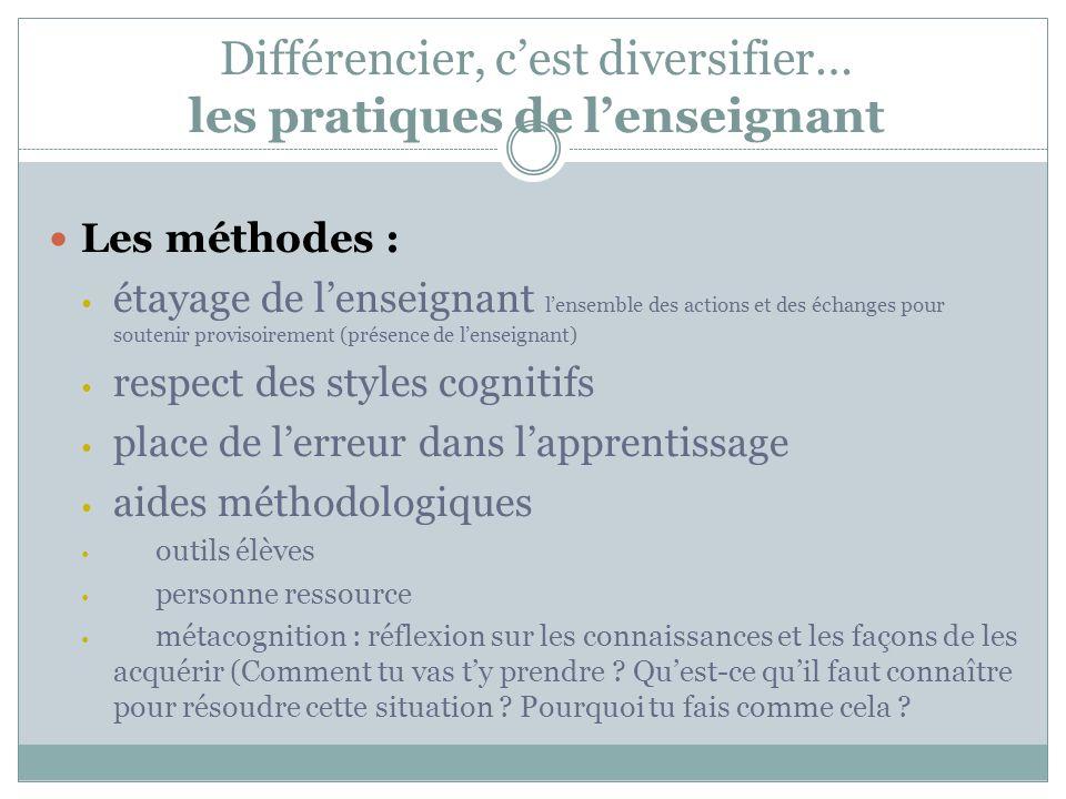 Différencier, cest diversifier… les pratiques de lenseignant Les méthodes : étayage de lenseignant lensemble des actions et des échanges pour soutenir