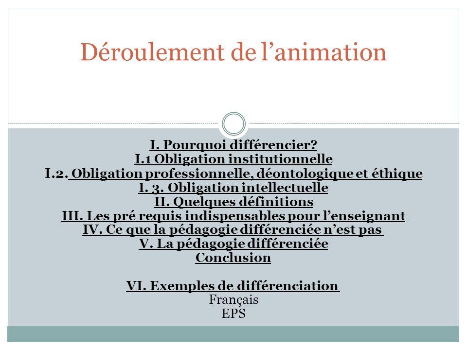 I. Pourquoi différencier? I.1 Obligation institutionnelle I.2. Obligation professionnelle, déontologique et éthique I. 3. Obligation intellectuelle II