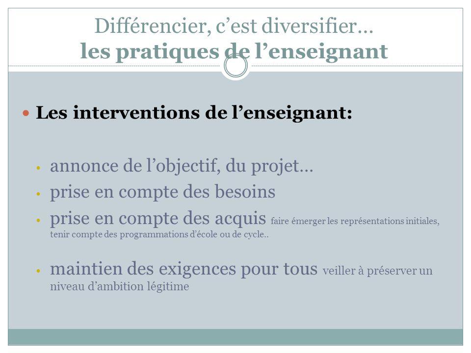 Différencier, cest diversifier… les pratiques de lenseignant Les interventions de lenseignant: annonce de lobjectif, du projet… prise en compte des be