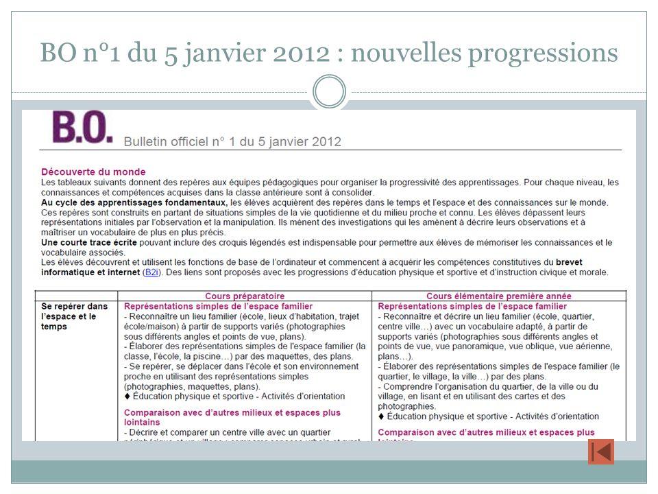 BO n°1 du 5 janvier 2012 : nouvelles progressions
