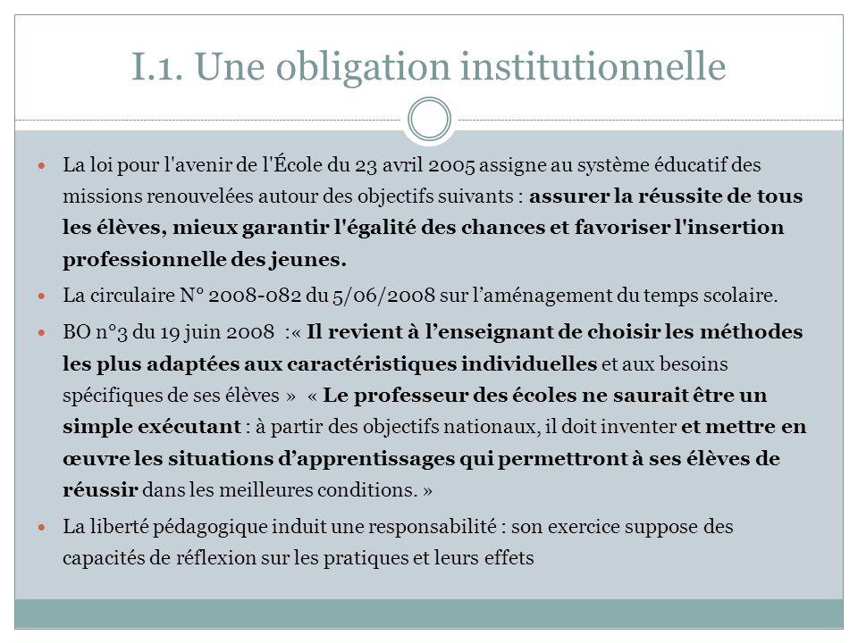 I.1. Une obligation institutionnelle La loi pour l'avenir de l'École du 23 avril 2005 assigne au système éducatif des missions renouvelées autour des