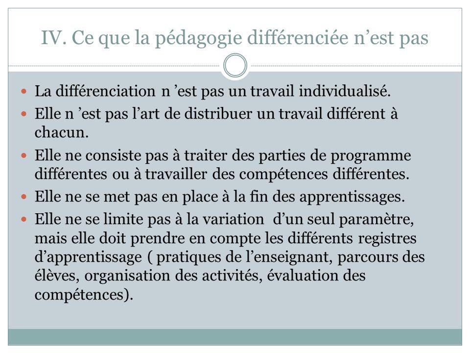 IV. Ce que la pédagogie différenciée nest pas La différenciation n est pas un travail individualisé. Elle n est pas lart de distribuer un travail diff