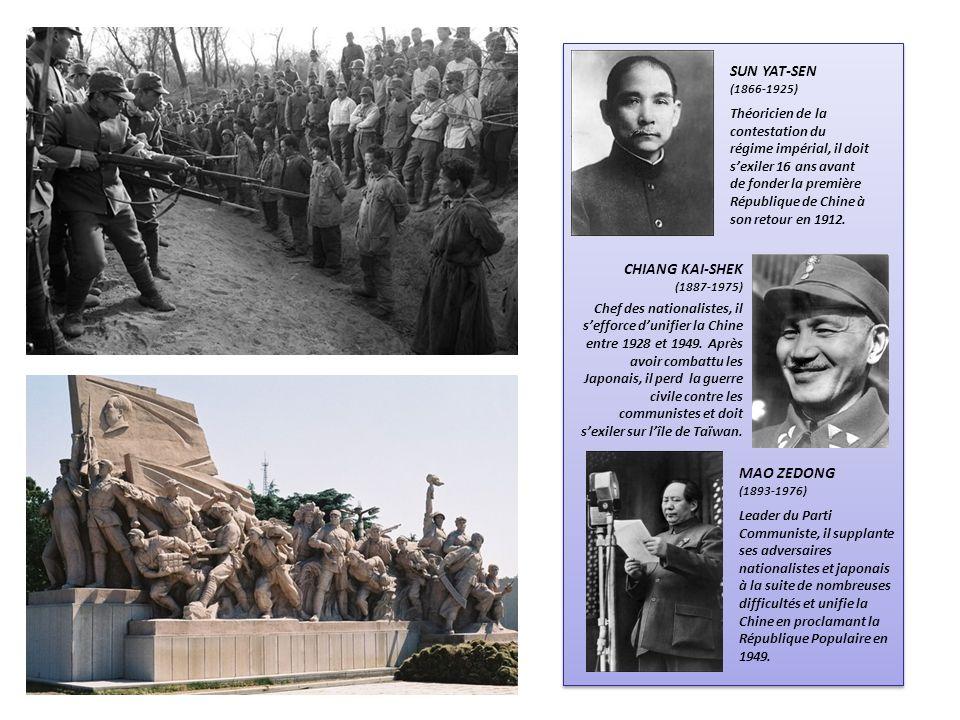 SUN YAT-SEN (1866-1925) Théoricien de la contestation du régime impérial, il doit sexiler 16 ans avant de fonder la première République de Chine à son