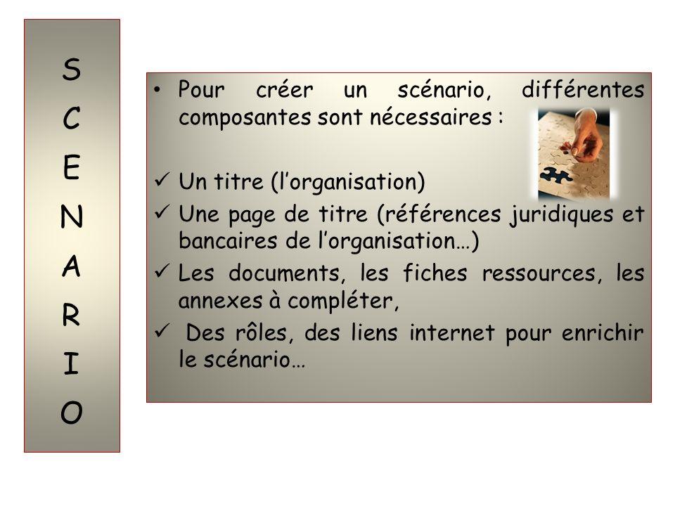 Pour créer un scénario, différentes composantes sont nécessaires : Un titre (lorganisation) Une page de titre (références juridiques et bancaires de l