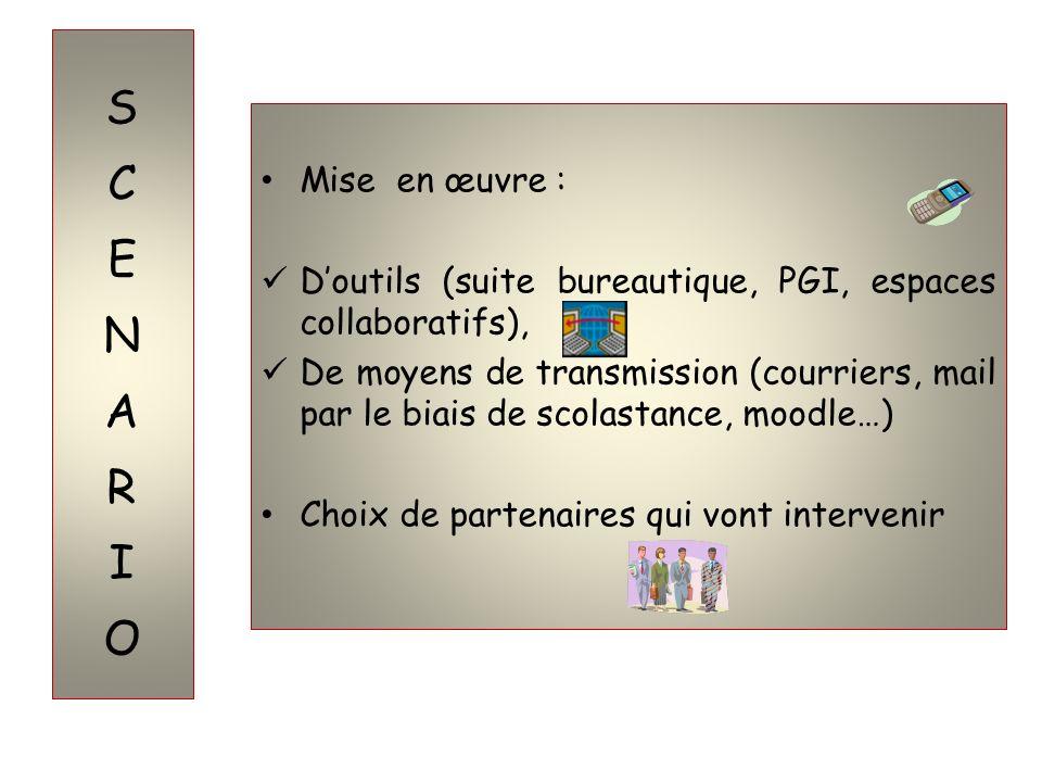 Mise en œuvre : Doutils (suite bureautique, PGI, espaces collaboratifs), De moyens de transmission (courriers, mail par le biais de scolastance, moodl