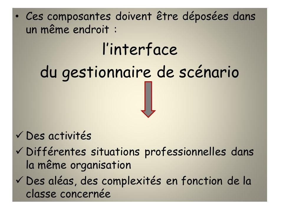 Ces composantes doivent être déposées dans un même endroit : linterface du gestionnaire de scénario Des activités Différentes situations professionnel
