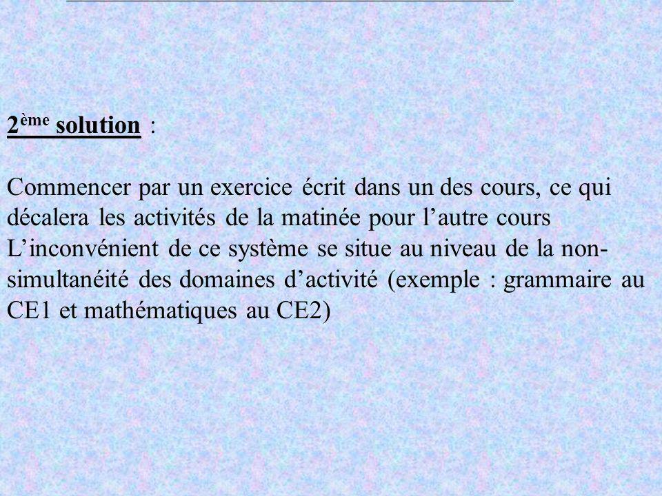 ACTIVITE COMMUNE (5 minutes) Séance collective (20) Révision de la séance précédente ou préparation de la séance suivante en autonomie Application de