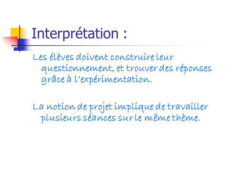 Interprétation : Les élèves doivent construire leur questionnement, et trouver des réponses grâce à lexpérimentation. La notion de projet implique de