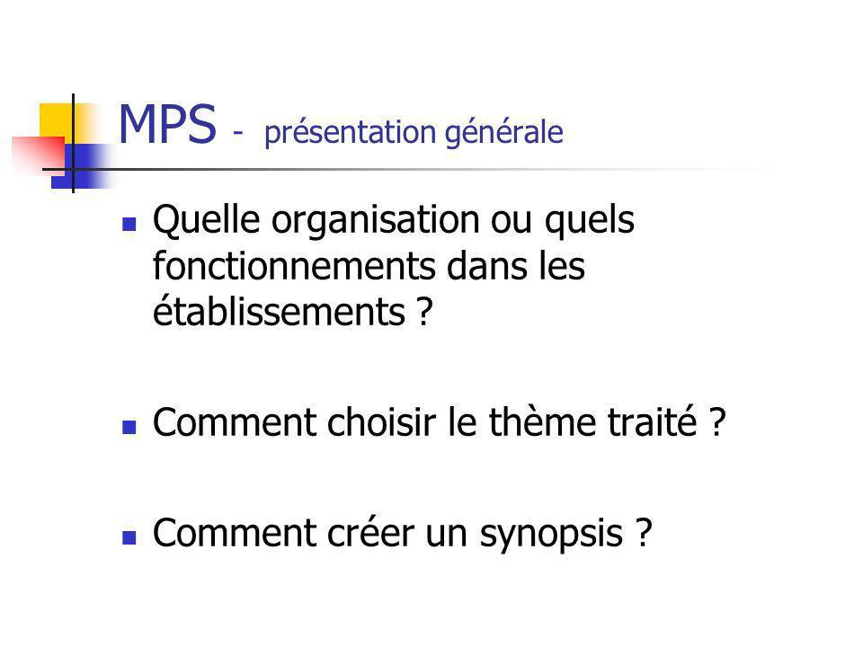 MPS - présentation générale Quelle organisation ou quels fonctionnements dans les établissements ? Comment choisir le thème traité ? Comment créer un