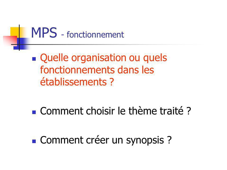 MPS - fonctionnement Quelle organisation ou quels fonctionnements dans les établissements ? Comment choisir le thème traité ? Comment créer un synopsi
