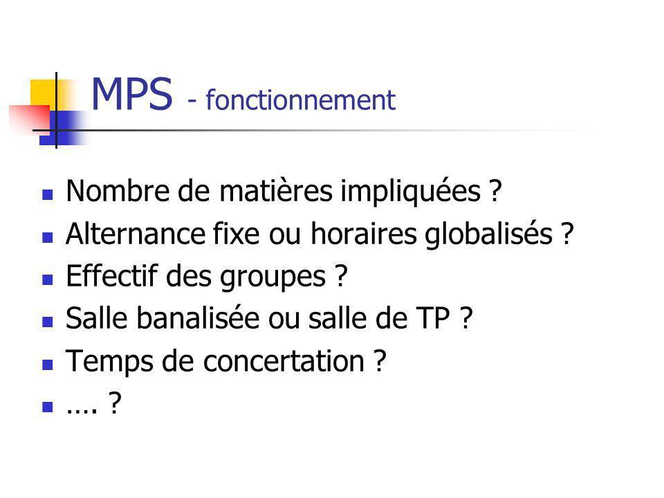 MPS - fonctionnement Nombre de matières impliquées ? Alternance fixe ou horaires globalisés ? Effectif des groupes ? Salle banalisée ou salle de TP ?