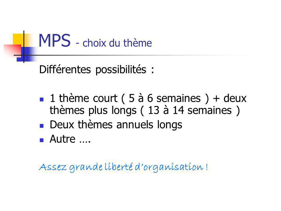 MPS - choix du thème Différentes possibilités : 1 thème court ( 5 à 6 semaines ) + deux thèmes plus longs ( 13 à 14 semaines ) Deux thèmes annuels lon