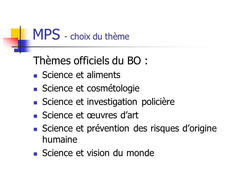 MPS - choix du thème Thèmes officiels du BO : Science et aliments Science et cosmétologie Science et investigation policière Science et œuvres dart Sc