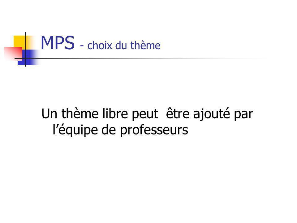 MPS - choix du thème Un thème libre peut être ajouté par léquipe de professeurs